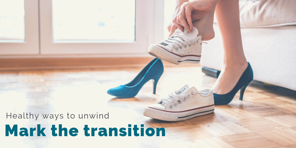 """Healthy ways to unwind: Mark the transition"". A woman changes from office heels to sneakers."