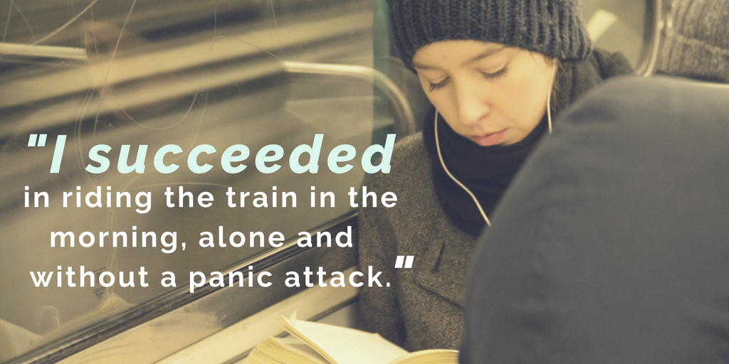 woman on train reading a book - I succeeded in riding the train in the morning, alone and without a panic attack